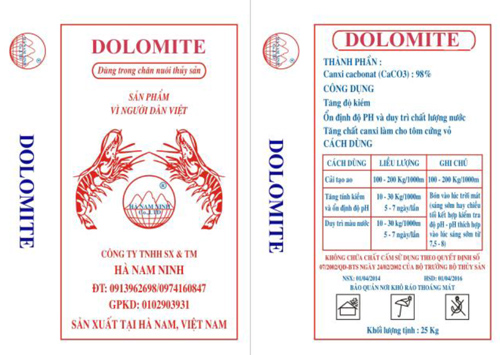Dolomite powder for water treatment in aquaculture